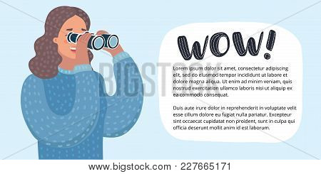 Vector Horizontal Banner With Cartoon Funny Illustration Of Woman Looking Through Binoculars. Person
