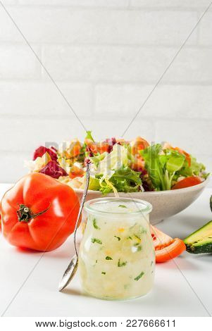 Classic Salad Dressing, Homemade Ranch Dressing With Olive Oil Herbs And Lemon, With Fresh Vegetable