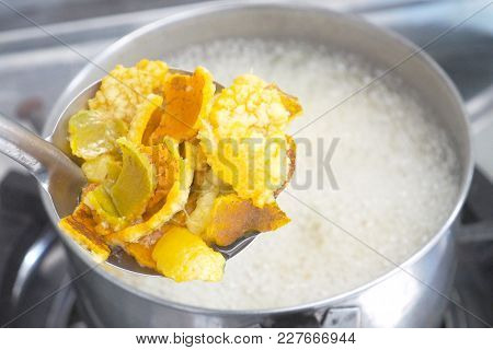 How To Made Orange Peel Herb Step Is Boiling N Stainless Hot Pot On Stove Of Lpg Gas.