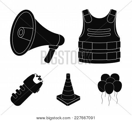 Bulletproof Vest, Megaphone, Cone Of Fencing, Electric Shock. Police Set Collection Icons In Black S