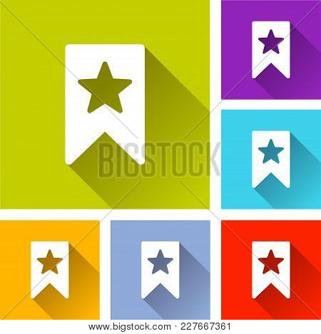 Illustration Of Bookmark Icons With Long Shadow