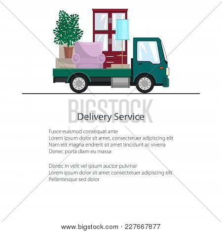 Green Freight Car Is Transporting Furniture And Text, Brochure Transportation And Cargo Delivery Ser