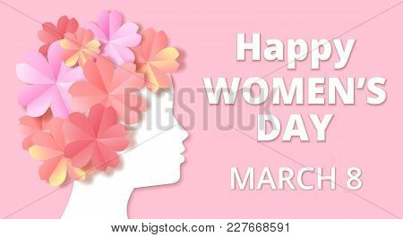 Womens Day Greeting Card In Origami Style