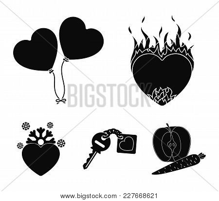 Hot Heart, Balloons, A Key With A Charm, A Cold Heart. Romantic Set Collection Icons In Black Style