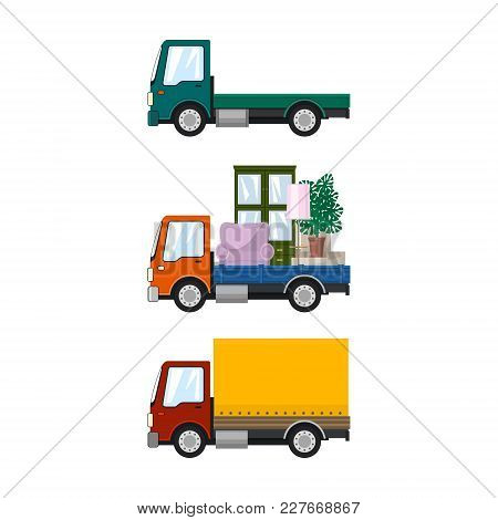 Set Of Cargo Trucks Isolated, Green Lorry Without Load, Car With Furniture, Small Closed Truck, Tran