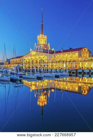 Sochi, Russia - April 16, 2016: Seaport At Night Illumination.