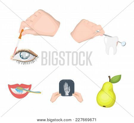 Examination Of The Tooth, Instillation Of The Eye And Other  Icon In Cartoon Style. A Snapshot Of Th
