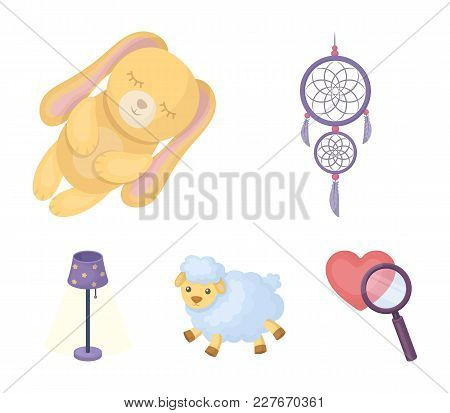 Dream Catcher, Soft Toy Sheep And Rabbit, Floor Lamp. Rest And Sleep Set Collection Icons In Cartoon
