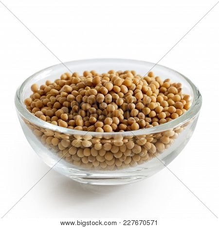 Dried White Mustard Seeds In Glass Bowl Isolated On White.