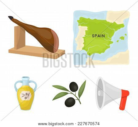 Map Of Spain, Jamon National Dish, Olives On A Branch, Olive Oil In A Bottle. Spain Country Set Coll