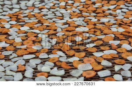 Dried Carrots Background. Dry Spices Background. A Set Of Colour Dried Flavoring
