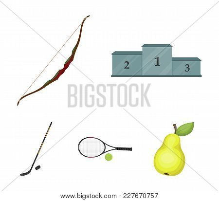 Pedestal Of Honor For The Winners, Bow For Shooting Arrows, Racket With A Ball For The Tennis, Hocke