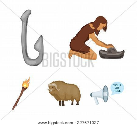 Cattle, Catch, Hook, Fishing .stone Age Set Collection Icons In Cartoon Style Vector Symbol Stock Il