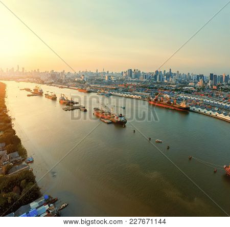 Aerial View Of Ship Port And Chaopraya River In Bangkok Thailand