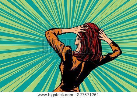 Shocked Woman Back, Human Reaction. Pop Art Retro Vector Illustration Comic Cartoon Figure Vintage K