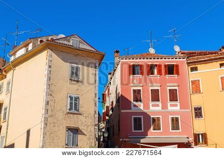 Beautiful And Cozy Medieval Town Of Rovinj, Colorful With Houses And Church In Croatia, Europe