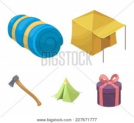 Tent With Awning, Ax And Other Accessories.tent Set Collection Icons In Cartoon Style Vector Symbol
