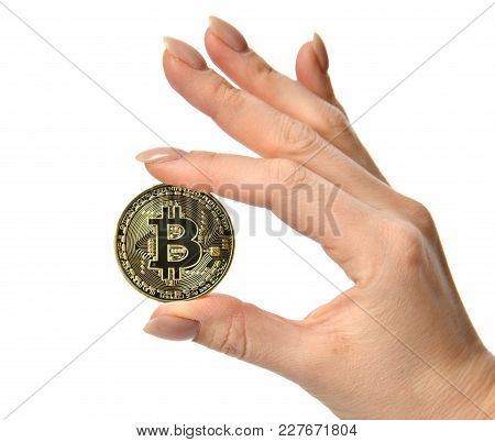 Hand Hold Gold Bitcoin Cryptocurrency Isolated On White Background. Physical Bit Coin. Digital Curre
