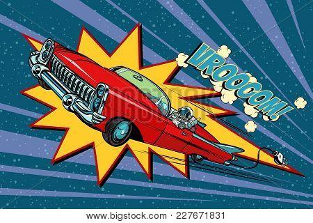 Electric Car Space, High Speed. Pop Art Retro Comic Book Vector Cartoon Hand Drawn Illustration