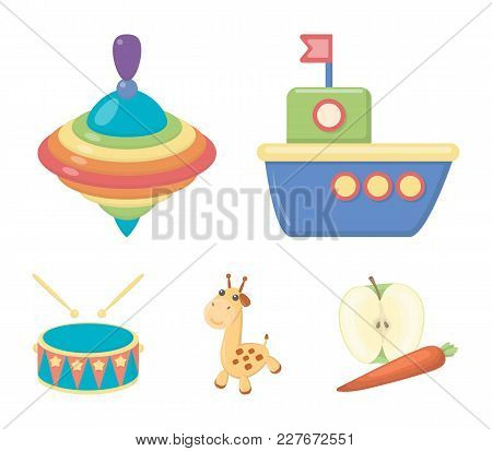 Ship, Yule, Giraffe, Drum.toys Set Collection Icons In Cartoon Style Vector Symbol Stock Illustratio