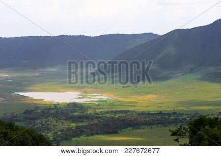 Panorama of NgoroNgoro crater. The lake is inside the crater. Tanzania, Africa poster