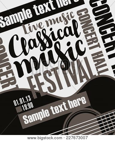 Vector Banner For A Music Festival With The Inscriptions Live Music Classical Music, Guitar And Plac