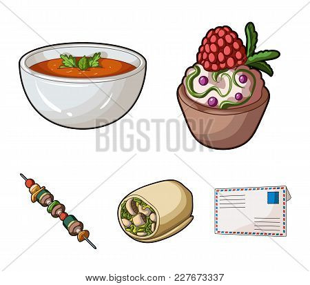 Cake With Raspberries, Vegetarian Soup With Greens, Sausages From Vegetables, Skewers Of Vegetables.