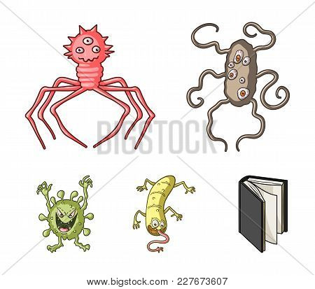 Different Types Of Microbes And Viruses. Viruses And Bacteria Set Collection Icons In Cartoon Style