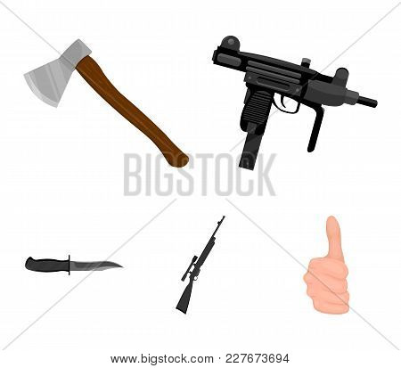 Ax, Automatic, Sniper Rifle, Combat Knife. Weapons Set Collection Icons In Cartoon Style Vector Symb
