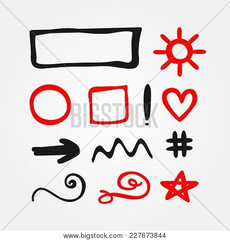 Set Of Isolated Red And Black Doodle Elements. Outlines Of Round, Square And Rectangular Frames, Sun