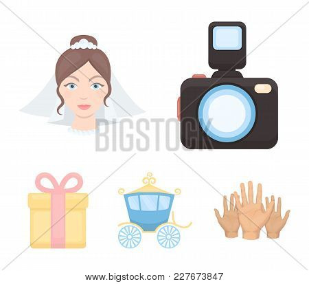 Bride, Photographing, Gift, Wedding Car. Wedding Set Collection Icons In Cartoon Style Vector Symbol