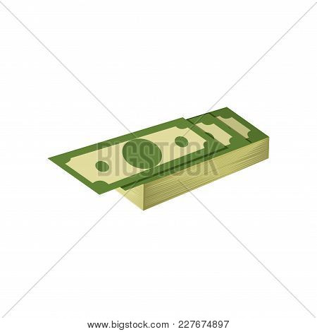 Stack Of Hundreds Of Dollars. American Banknotes. Banking Currency. Flat Vector Icon. Graphic Design