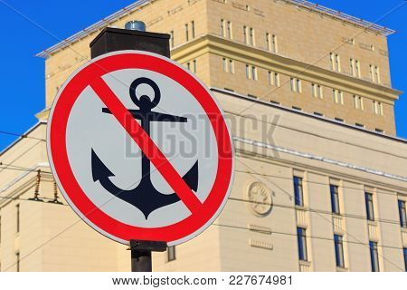 Sign No Parking For Vessels. Anchor With Red Diagonal Line On A White Background