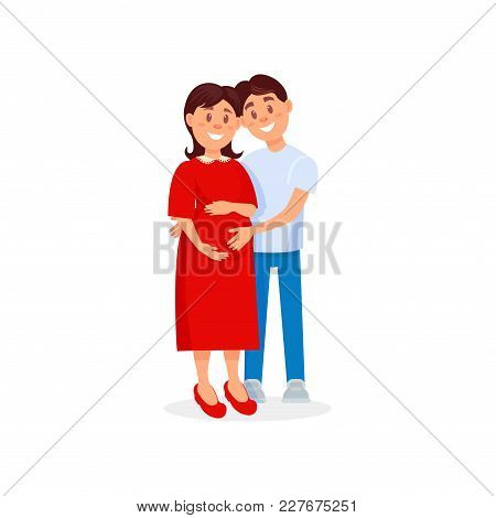 Happy Husband Hugging His Pregnant Wife. Family Couple Expecting Baby Born. Young Woman And Man In C