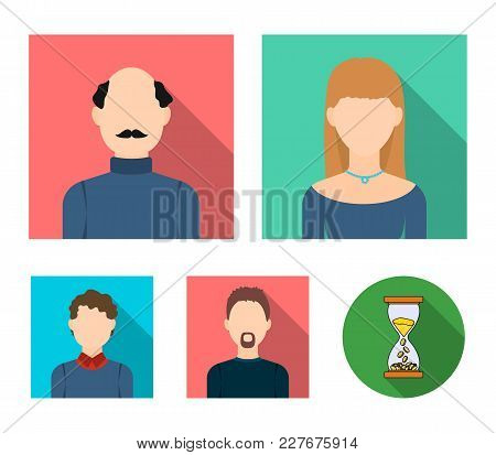 Blond Woman, Curly-haired Teenager, Bald Man With A Mustache, A Man With A Beard.avatar Set Collecti