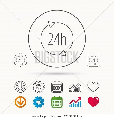 24 Hours Icon. Customer Service Sign. Client Support Symbol. Calendar, Graph Chart And Cogwheel Sign