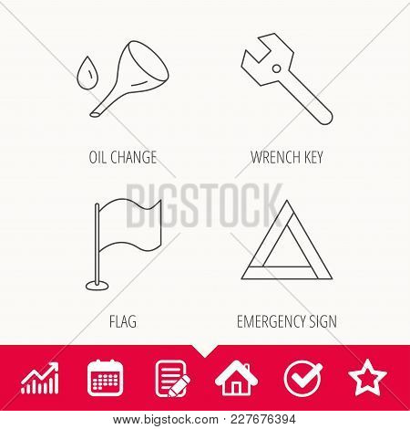 Flag Pointer, Emergency Sign And Wrench Key Icons. Emergency Triangle, Oil Change Linear Signs. Edit
