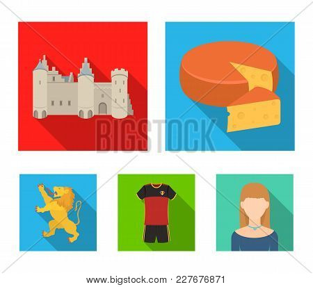 Cheese, Lion And Other Symbols Of The Country.belgium Set Collection Icons In Flat Style Vector Symb