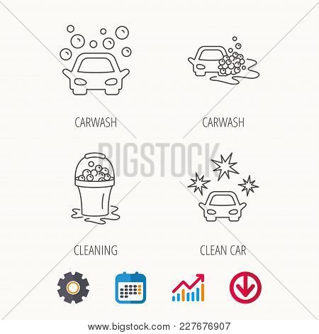 Car Wash Icons. Automatic Cleaning Station Linear Signs. Wet Cleaning And Foam Bucket Flat Line Icon