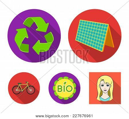 Bio Label, Eco Bike, Solar Panel, Recycling Sign.bio And Ecology Set Collection Icons In Flat Style
