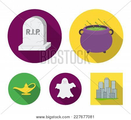 A Witch's Cauldron, A Tombstone, A Ghost, A Gin Lamp.black And White Magic Set Collection Icons In F
