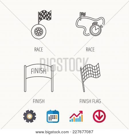 Finish Flag, Race Timer And Wheel Icons. Race Track Linear Sign. Calendar, Graph Chart And Cogwheel