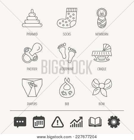 Pacifier, Diapers And Newborn Icons. Footprint, Socks And Dirty Bib Linear Signs. Pyramid Toy, Cradl