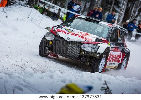 VARGASSEN, SWEDEN - 02-11-2017:  Henning Solberg with his Skoda Fabia RS WRC car during the event Rally Sweden 2017