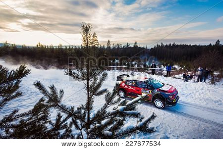 HAGFORS, SWEDEN - 02-11-2017: Kris Meeke with his Citroen WRC car during the event Rally Sweden 2017