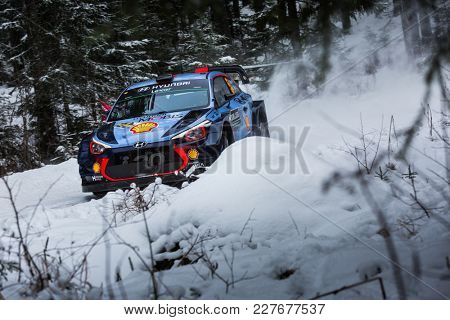 VARGASSEN, SWEDEN - 02-11-2017:  Thierry Neuville with his Hyundai i20 WRC car during the event Rally Sweden 2017