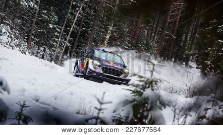 VARGASSEN, SWEDEN - 02-11-2017:  Sebastien Ogier with his Ford WRC car during the event Rally Sweden 2017