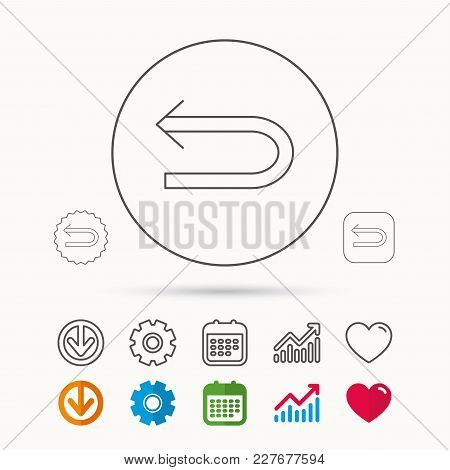 Back Arrow Icon. Previous Sign. Left Direction Symbol. Calendar, Graph Chart And Cogwheel Signs. Dow