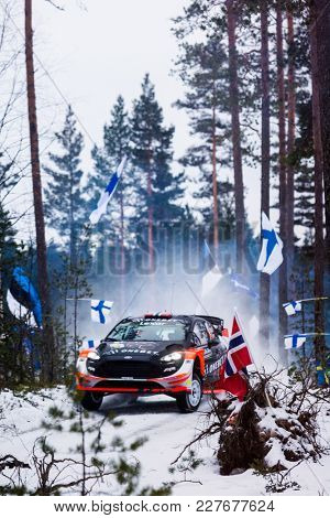 SVULLRYA, NORWAY - 02-10-2017:  Mats Ostberg with his Ford WRC car during the event Rally Sweden 2017