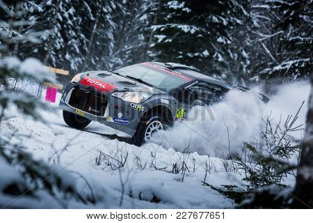 VARGASSEN, SWEDEN - 02-11-2017:  EMIL BERGKVIST with his Citroen WRC car during the event Rally Sweden 2017
